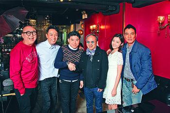 ■左起 ︰ 阿Bob、姜皓文、葉念琛導演、詩雅和任達華主演的新片,在今個農曆新年帶給觀眾無窮歡樂笑聲。